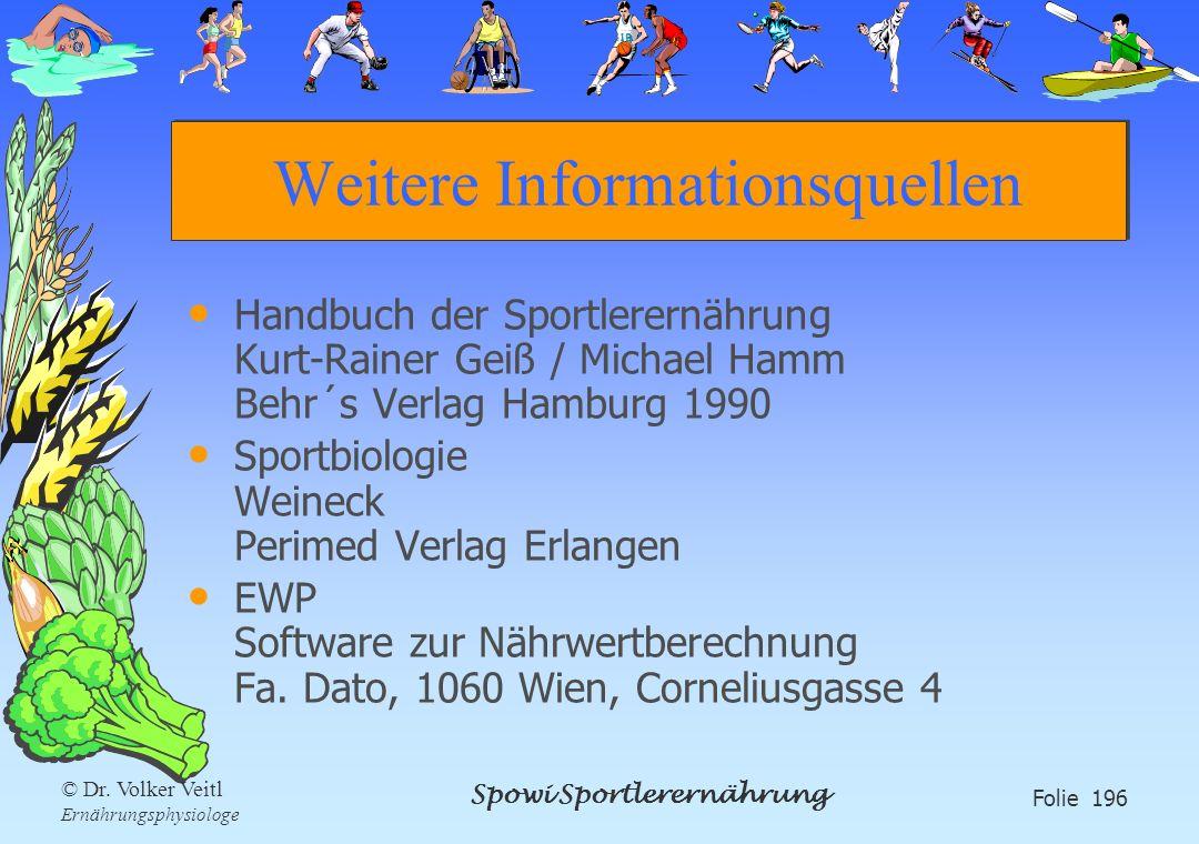 Spowi Sportlerernährung Folie 196 © Dr. Volker Veitl Ernährungsphysiologe Weitere Informationsquellen Handbuch der Sportlerernährung Kurt-Rainer Geiß