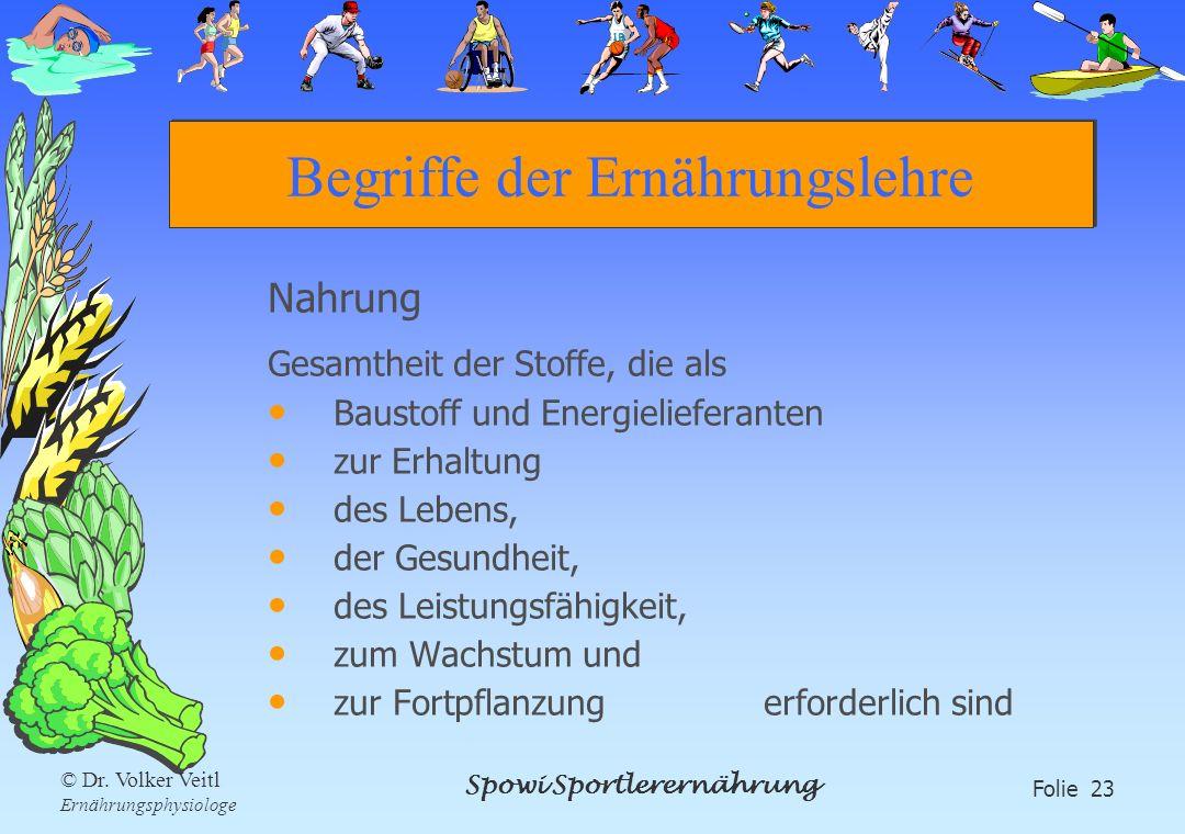 Spowi Sportlerernährung Folie 23 © Dr. Volker Veitl Ernährungsphysiologe Begriffe der Ernährungslehre Nahrung Gesamtheit der Stoffe, die als Baustoff