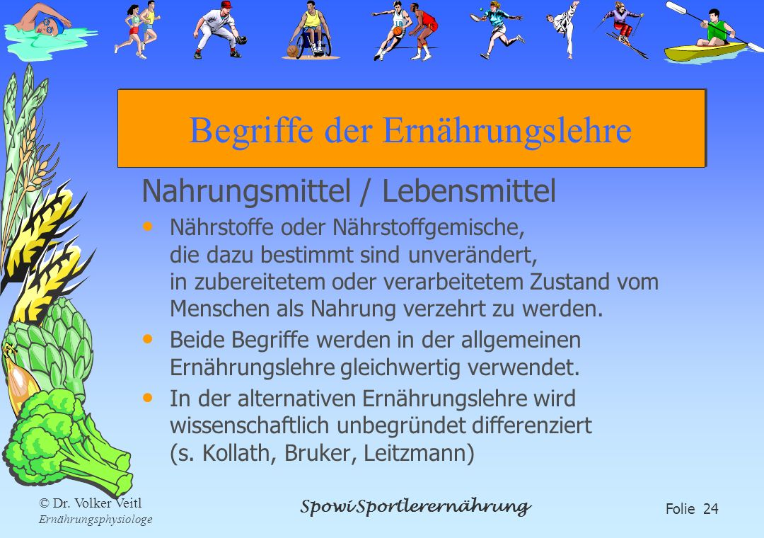 Spowi Sportlerernährung Folie 24 © Dr. Volker Veitl Ernährungsphysiologe Begriffe der Ernährungslehre Nahrungsmittel / Lebensmittel Nährstoffe oder Nä