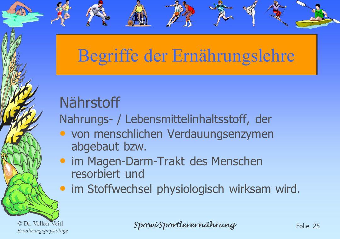 Spowi Sportlerernährung Folie 25 © Dr. Volker Veitl Ernährungsphysiologe Begriffe der Ernährungslehre Nährstoff Nahrungs- / Lebensmittelinhaltsstoff,