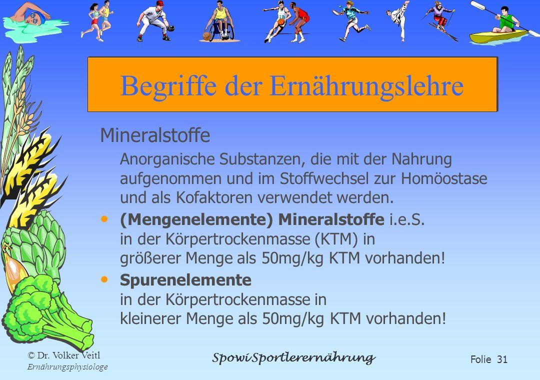 Spowi Sportlerernährung Folie 31 © Dr. Volker Veitl Ernährungsphysiologe Begriffe der Ernährungslehre Mineralstoffe Anorganische Substanzen, die mit d