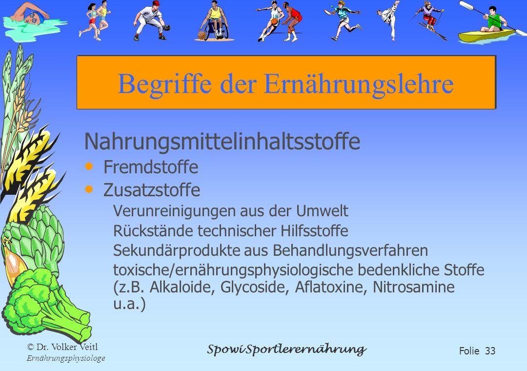Spowi Sportlerernährung Folie 33 © Dr. Volker Veitl Ernährungsphysiologe Begriffe der Ernährungslehre Nahrungsmittelinhaltsstoffe Fremdstoffe Zusatzst