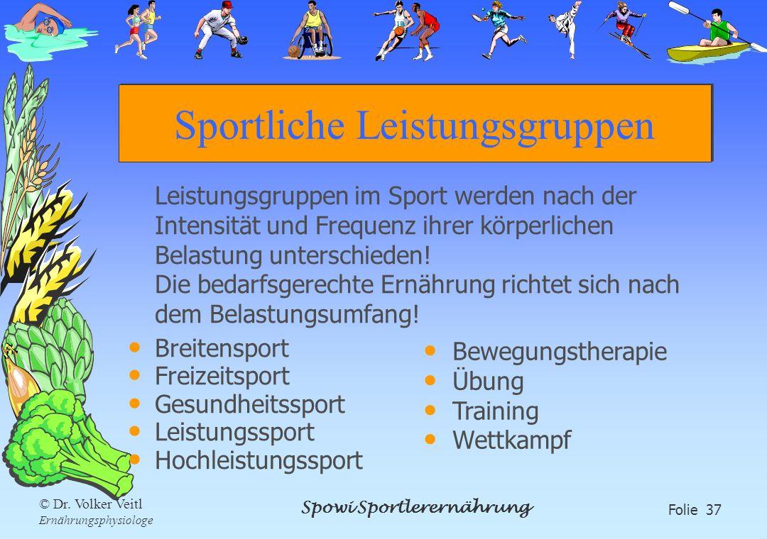 Spowi Sportlerernährung Folie 37 © Dr. Volker Veitl Ernährungsphysiologe Sportliche Leistungsgruppen Leistungsgruppen im Sport werden nach der Intensi