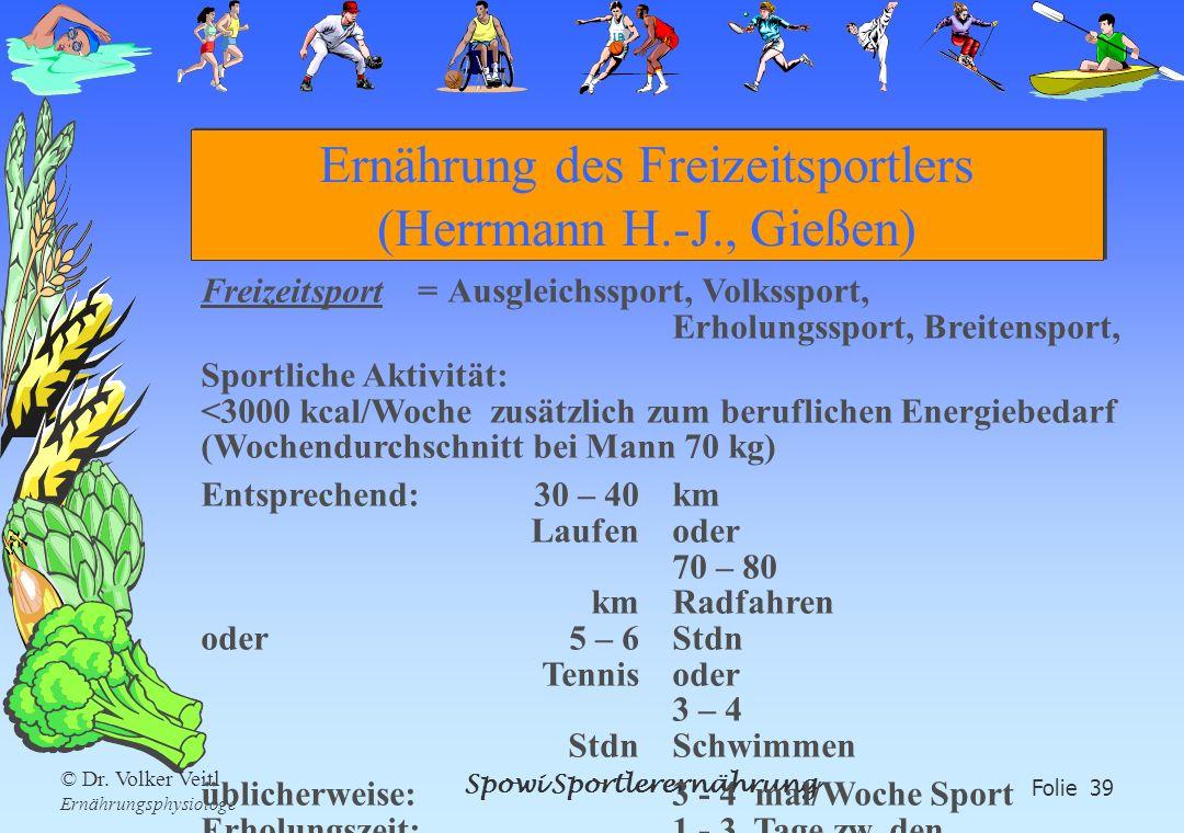 Spowi Sportlerernährung Folie 39 © Dr. Volker Veitl Ernährungsphysiologe Ernährung des Freizeitsportlers (Herrmann H.-J., Gießen) Freizeitsport = Ausg