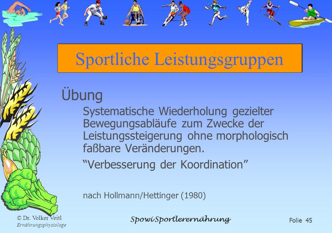Spowi Sportlerernährung Folie 45 © Dr. Volker Veitl Ernährungsphysiologe Sportliche Leistungsgruppen Übung Systematische Wiederholung gezielter Bewegu