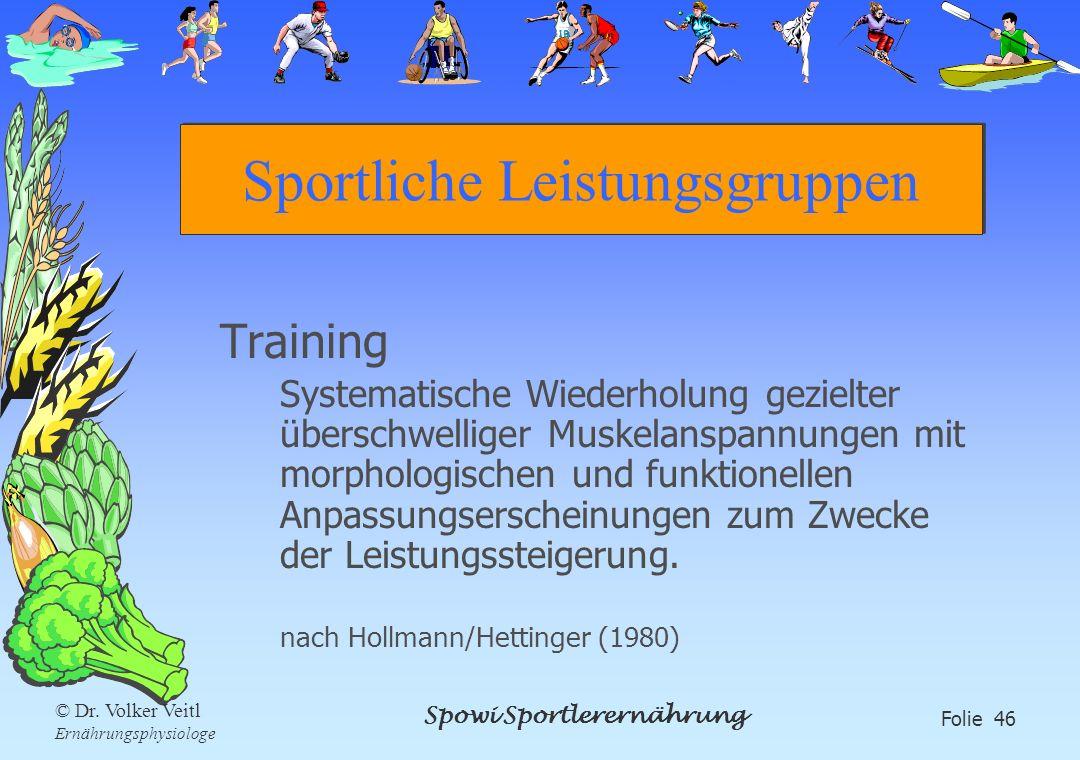 Spowi Sportlerernährung Folie 46 © Dr. Volker Veitl Ernährungsphysiologe Sportliche Leistungsgruppen Training Systematische Wiederholung gezielter übe