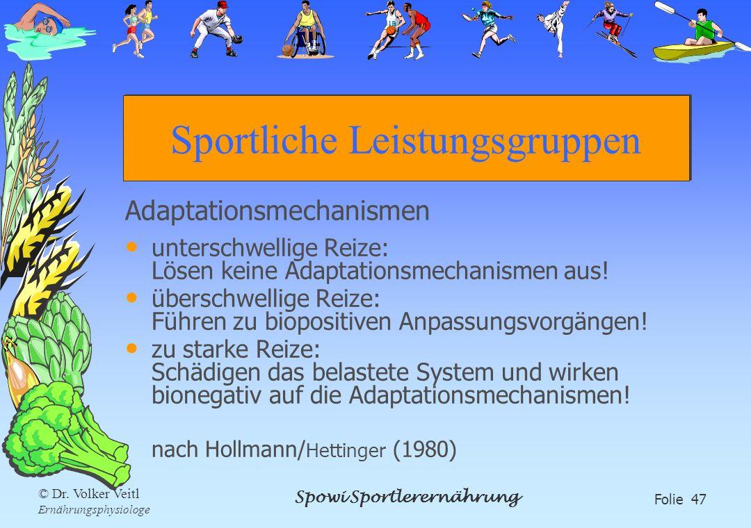 Spowi Sportlerernährung Folie 47 © Dr. Volker Veitl Ernährungsphysiologe Sportliche Leistungsgruppen Adaptationsmechanismen unterschwellige Reize: Lös