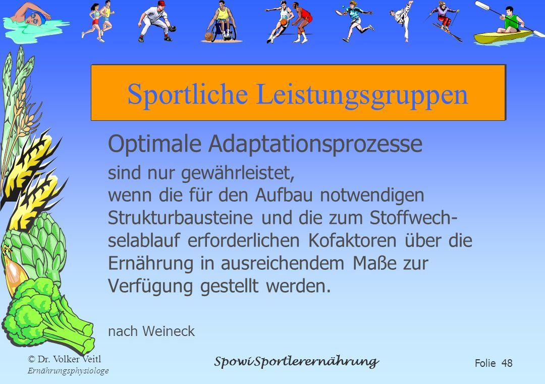 Spowi Sportlerernährung Folie 48 © Dr. Volker Veitl Ernährungsphysiologe Sportliche Leistungsgruppen Optimale Adaptationsprozesse sind nur gewährleist