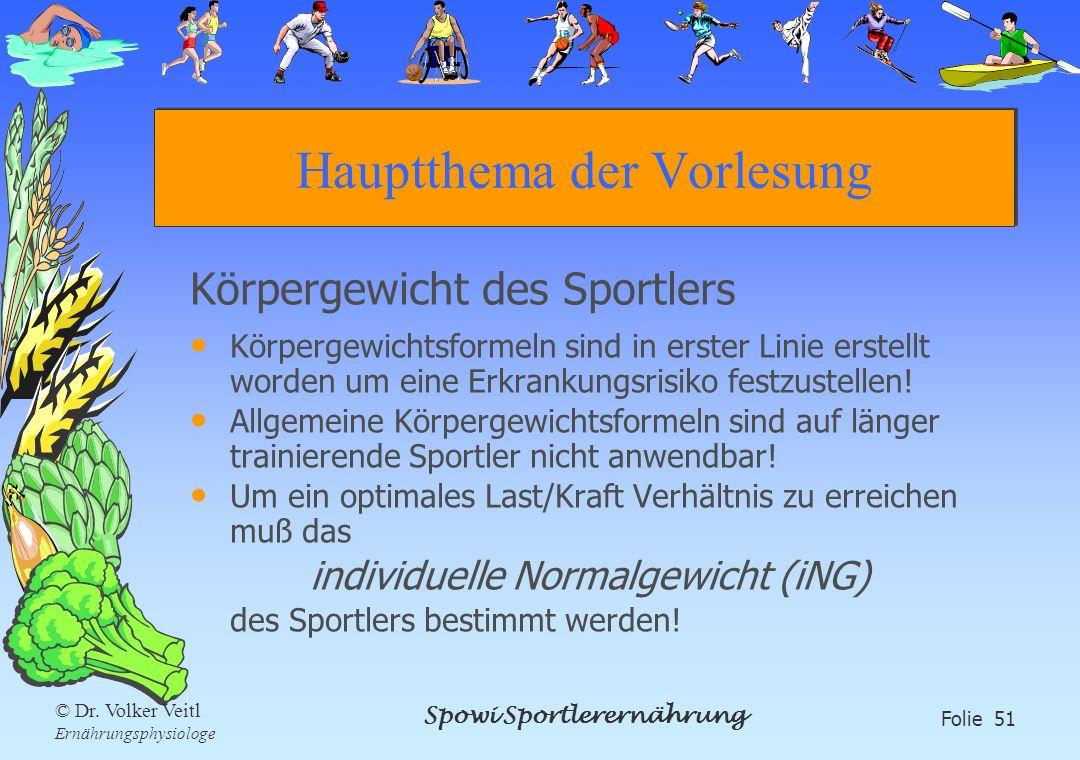 Spowi Sportlerernährung Folie 51 © Dr. Volker Veitl Ernährungsphysiologe Hauptthema der Vorlesung Körpergewicht des Sportlers Körpergewichtsformeln si