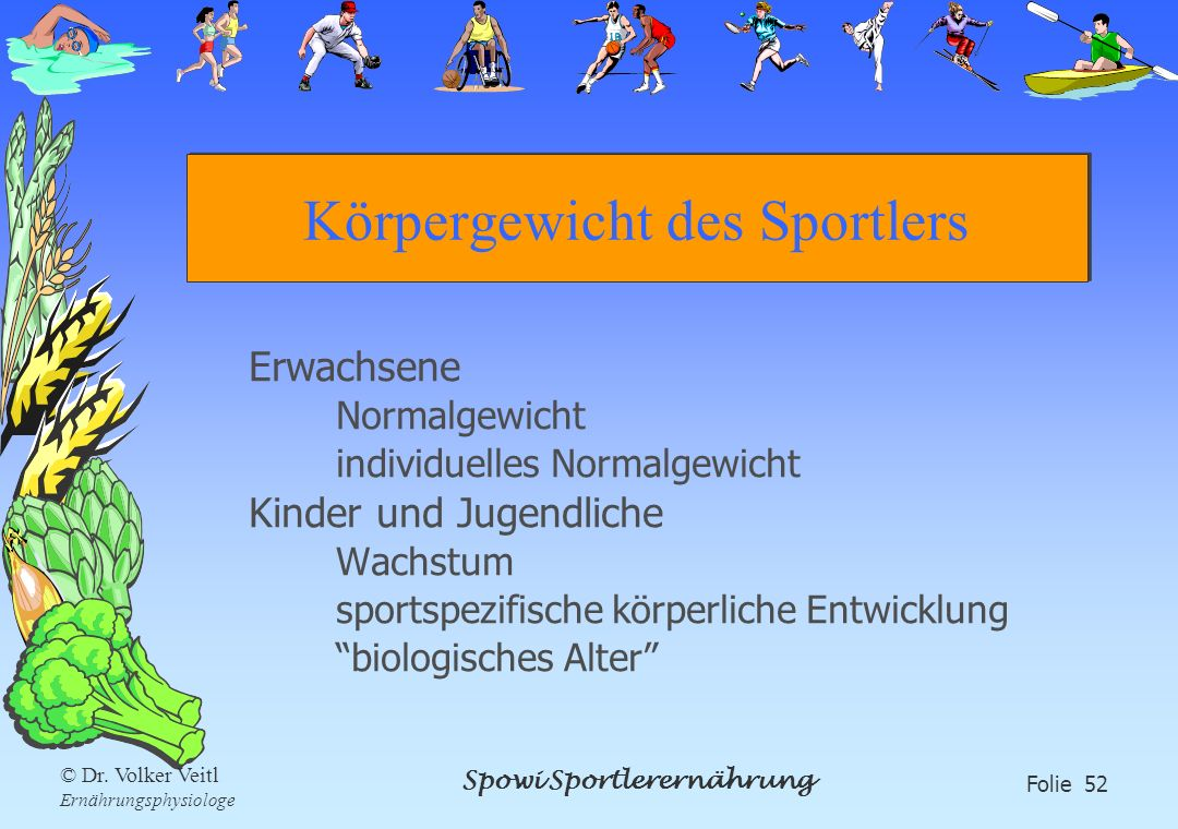 Spowi Sportlerernährung Folie 52 © Dr. Volker Veitl Ernährungsphysiologe Körpergewicht des Sportlers Erwachsene Normalgewicht individuelles Normalgewi
