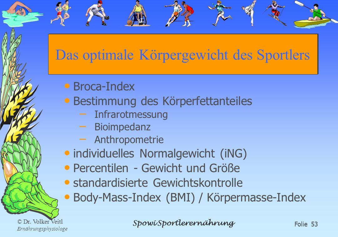 Spowi Sportlerernährung Folie 53 © Dr. Volker Veitl Ernährungsphysiologe Das optimale Körpergewicht des Sportlers Broca-Index Bestimmung des Körperfet