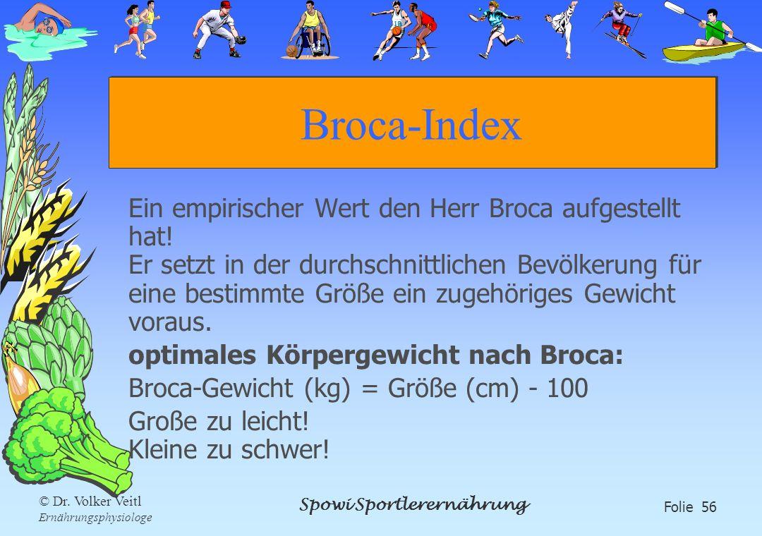 Spowi Sportlerernährung Folie 56 © Dr. Volker Veitl Ernährungsphysiologe Broca-Index Ein empirischer Wert den Herr Broca aufgestellt hat! Er setzt in