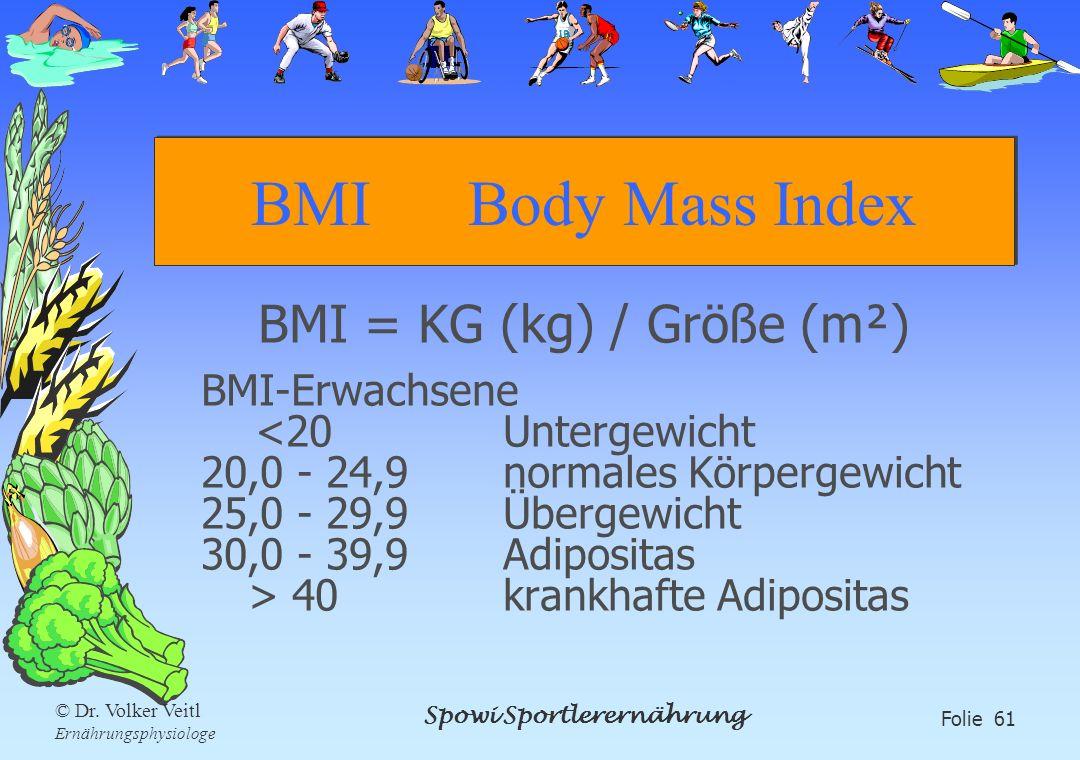 Spowi Sportlerernährung Folie 61 © Dr. Volker Veitl Ernährungsphysiologe BMI Body Mass Index BMI = KG (kg) / Größe (m²) BMI-Erwachsene 40krankhafte Ad