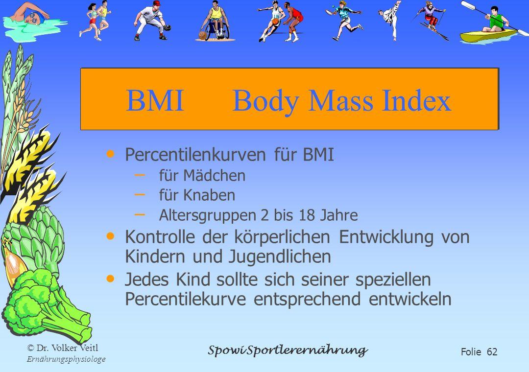 Spowi Sportlerernährung Folie 62 © Dr. Volker Veitl Ernährungsphysiologe BMI Body Mass Index Percentilenkurven für BMI – für Mädchen – für Knaben – Al