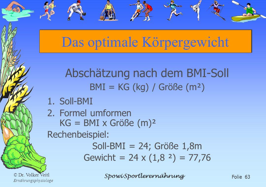 Spowi Sportlerernährung Folie 63 © Dr. Volker Veitl Ernährungsphysiologe Das optimale Körpergewicht Abschätzung nach dem BMI-Soll BMI = KG (kg) / Größ