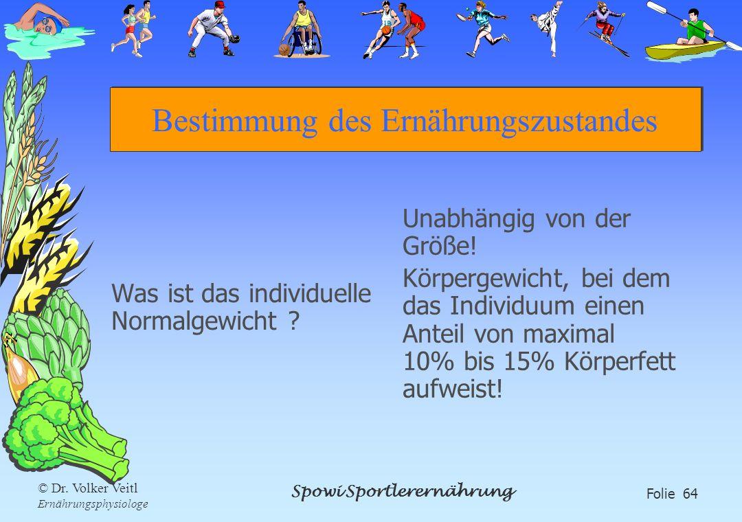 Spowi Sportlerernährung Folie 64 © Dr. Volker Veitl Ernährungsphysiologe Bestimmung des Ernährungszustandes Was ist das individuelle Normalgewicht ? U