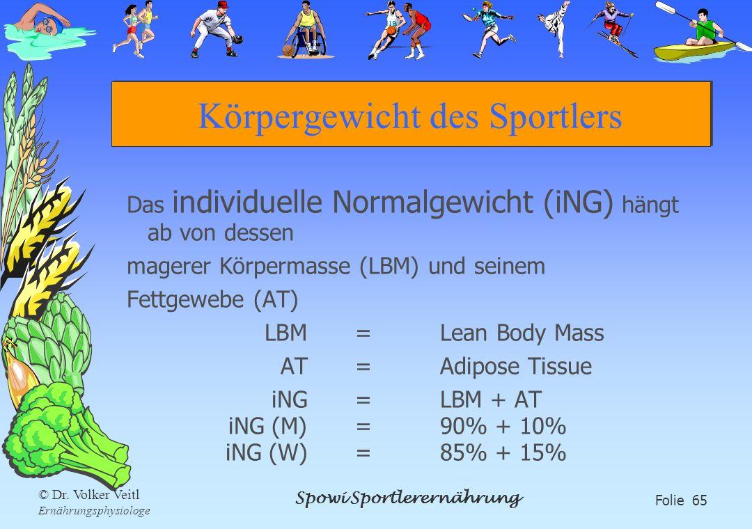 Spowi Sportlerernährung Folie 65 © Dr. Volker Veitl Ernährungsphysiologe Körpergewicht des Sportlers Das individuelle Normalgewicht (iNG) hängt ab von
