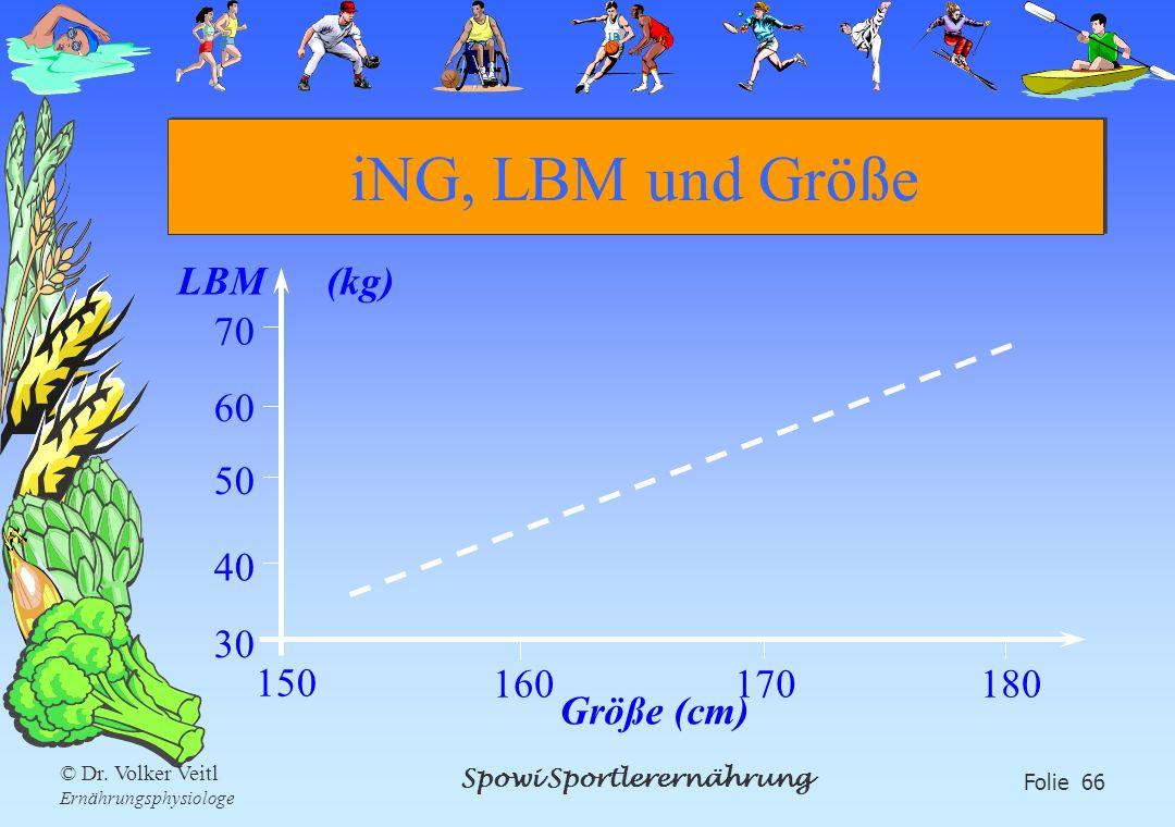 Spowi Sportlerernährung Folie 66 © Dr. Volker Veitl Ernährungsphysiologe iNG, LBM und Größe LBM (kg) Größe (cm) 150 160170180 70 60 50 40 30