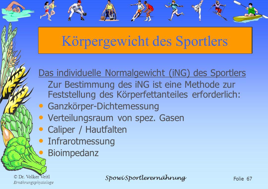 Spowi Sportlerernährung Folie 67 © Dr. Volker Veitl Ernährungsphysiologe Körpergewicht des Sportlers Das individuelle Normalgewicht (iNG) des Sportler