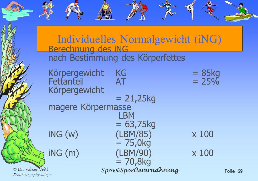 Spowi Sportlerernährung Folie 69 © Dr. Volker Veitl Ernährungsphysiologe Individuelles Normalgewicht (iNG) Berechnung des iNG nach Bestimmung des Körp