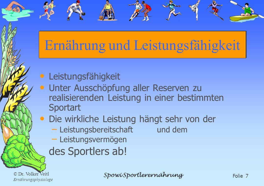 Spowi Sportlerernährung Folie 7 © Dr. Volker Veitl Ernährungsphysiologe Ernährung und Leistungsfähigkeit Leistungsfähigkeit Unter Ausschöpfung aller R