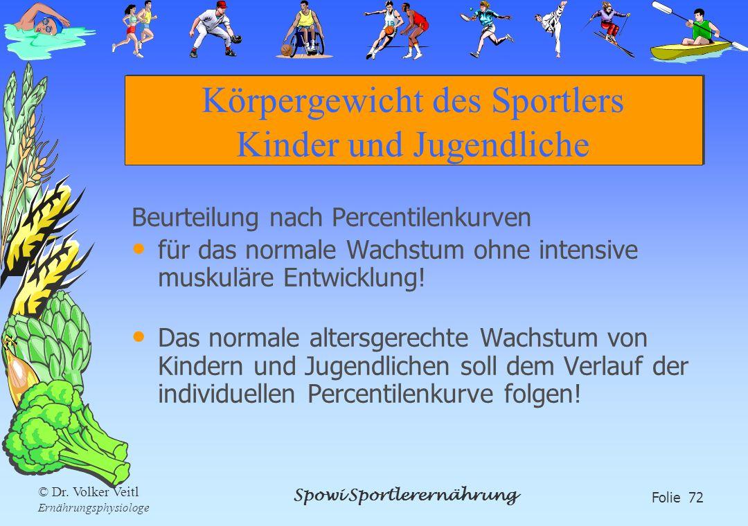 Spowi Sportlerernährung Folie 72 © Dr. Volker Veitl Ernährungsphysiologe Körpergewicht des Sportlers Kinder und Jugendliche Beurteilung nach Percentil