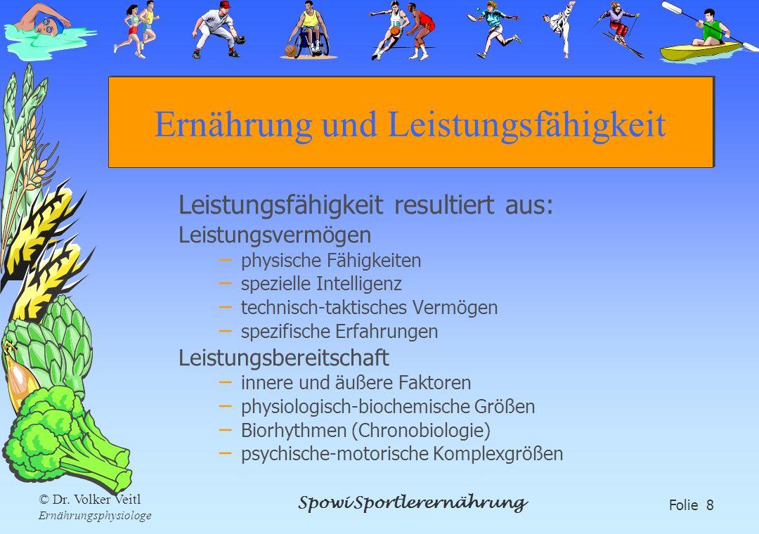 Spowi Sportlerernährung Folie 8 © Dr. Volker Veitl Ernährungsphysiologe Ernährung und Leistungsfähigkeit Leistungsfähigkeit resultiert aus: Leistungsv