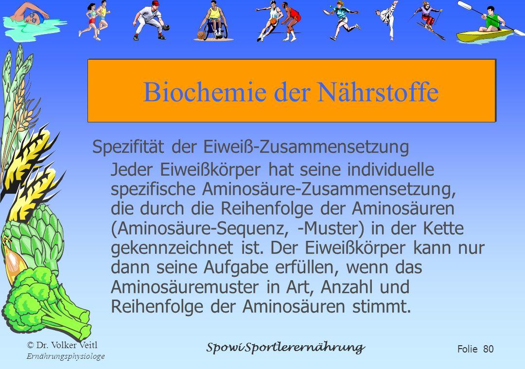 Spowi Sportlerernährung Folie 80 © Dr. Volker Veitl Ernährungsphysiologe Biochemie der Nährstoffe Spezifität der Eiweiß-Zusammensetzung Jeder Eiweißkö