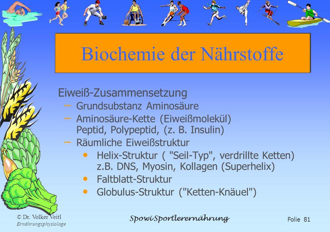 Spowi Sportlerernährung Folie 81 © Dr. Volker Veitl Ernährungsphysiologe Biochemie der Nährstoffe Eiweiß-Zusammensetzung – Grundsubstanz Aminosäure –