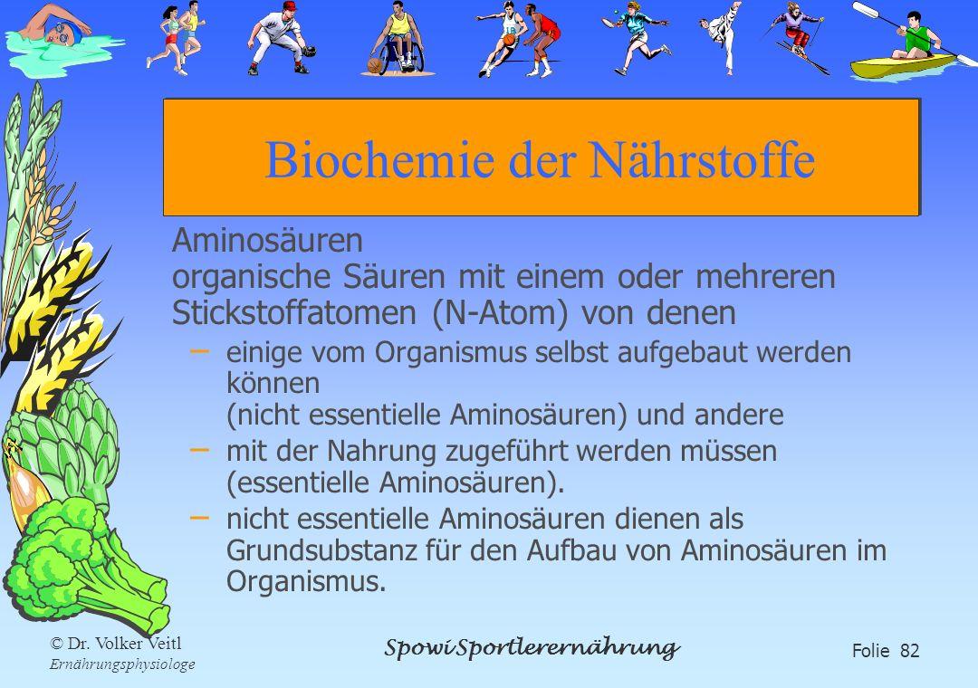 Spowi Sportlerernährung Folie 82 © Dr. Volker Veitl Ernährungsphysiologe Biochemie der Nährstoffe Aminosäuren organische Säuren mit einem oder mehrere