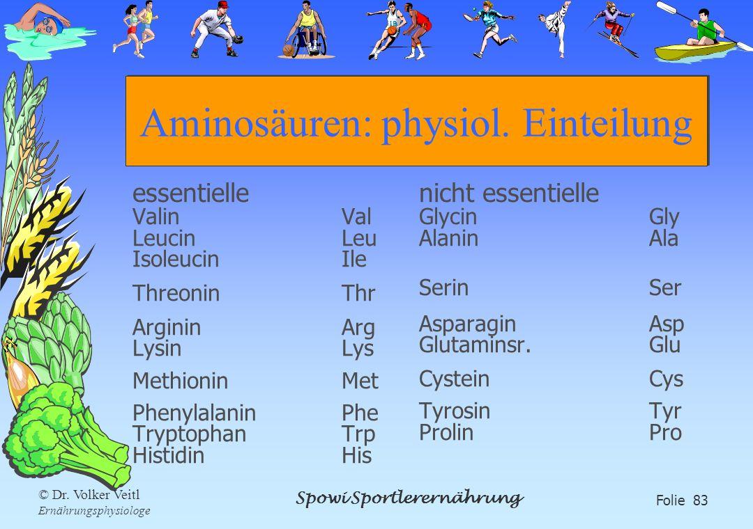 Spowi Sportlerernährung Folie 83 © Dr. Volker Veitl Ernährungsphysiologe Aminosäuren: physiol. Einteilung essentielle ValinVal LeucinLeu IsoleucinIle