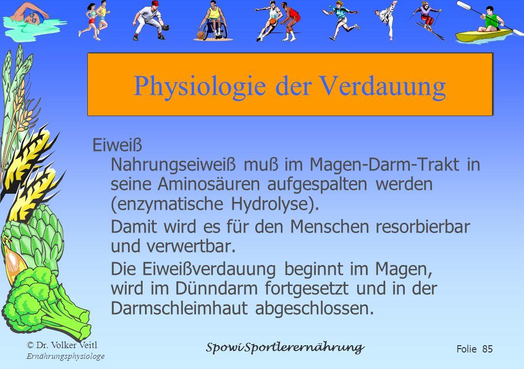 Spowi Sportlerernährung Folie 85 © Dr. Volker Veitl Ernährungsphysiologe Physiologie der Verdauung Eiweiß Nahrungseiweiß muß im Magen-Darm-Trakt in se