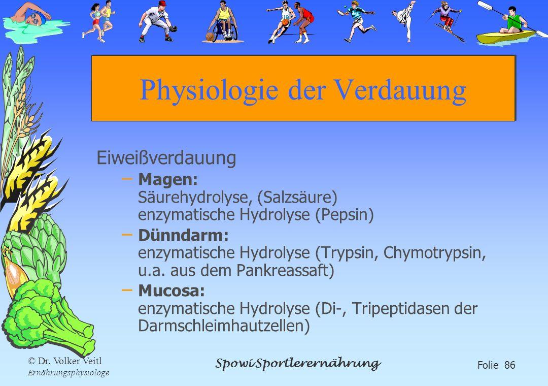 Spowi Sportlerernährung Folie 86 © Dr. Volker Veitl Ernährungsphysiologe Physiologie der Verdauung Eiweißverdauung – Magen: Säurehydrolyse, (Salzsäure