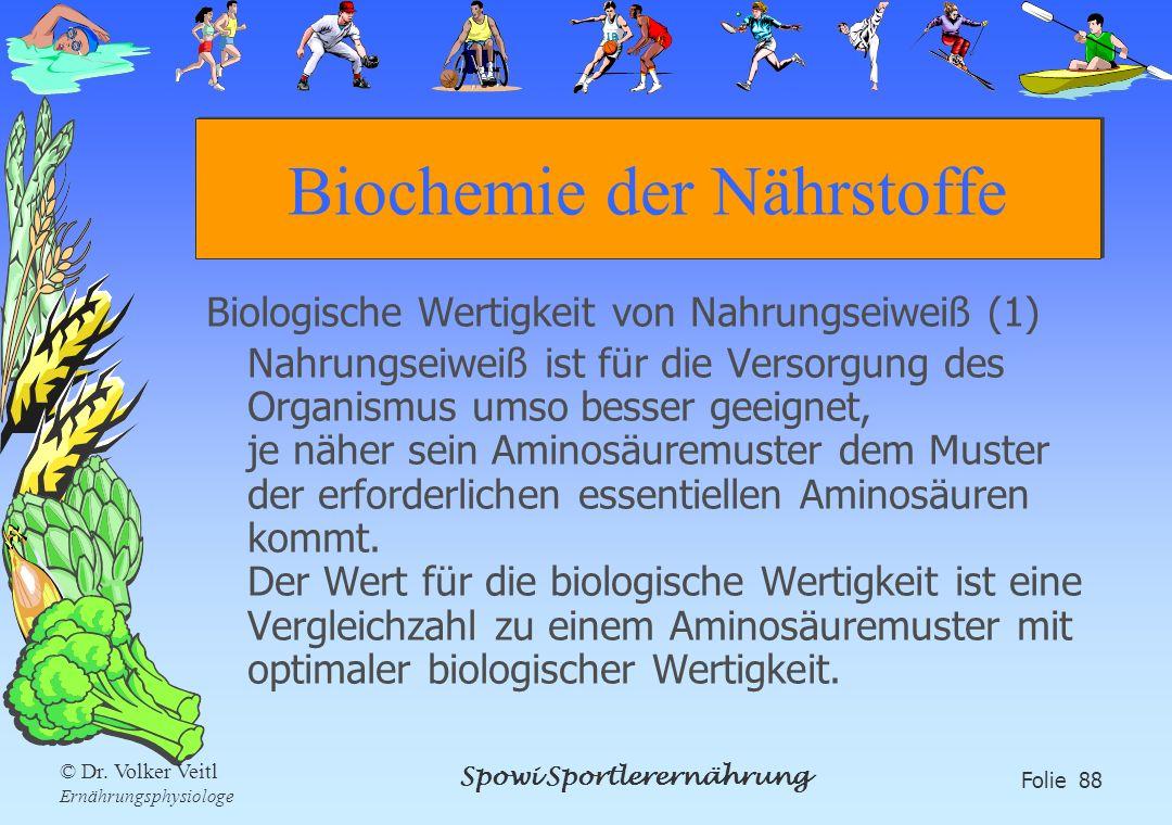 Spowi Sportlerernährung Folie 88 © Dr. Volker Veitl Ernährungsphysiologe Biochemie der Nährstoffe Biologische Wertigkeit von Nahrungseiweiß (1) Nahrun