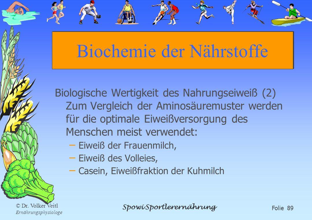 Spowi Sportlerernährung Folie 89 © Dr. Volker Veitl Ernährungsphysiologe Biochemie der Nährstoffe Biologische Wertigkeit des Nahrungseiweiß (2) Zum Ve