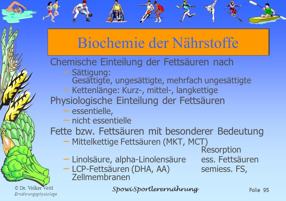 Spowi Sportlerernährung Folie 95 © Dr. Volker Veitl Ernährungsphysiologe Biochemie der Nährstoffe Chemische Einteilung der Fettsäuren nach – Sättigung