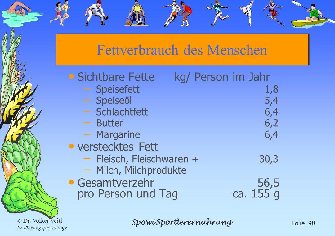 Spowi Sportlerernährung Folie 98 © Dr. Volker Veitl Ernährungsphysiologe Fettverbrauch des Menschen Sichtbare Fette kg/ Person im Jahr – Speisefett1,8
