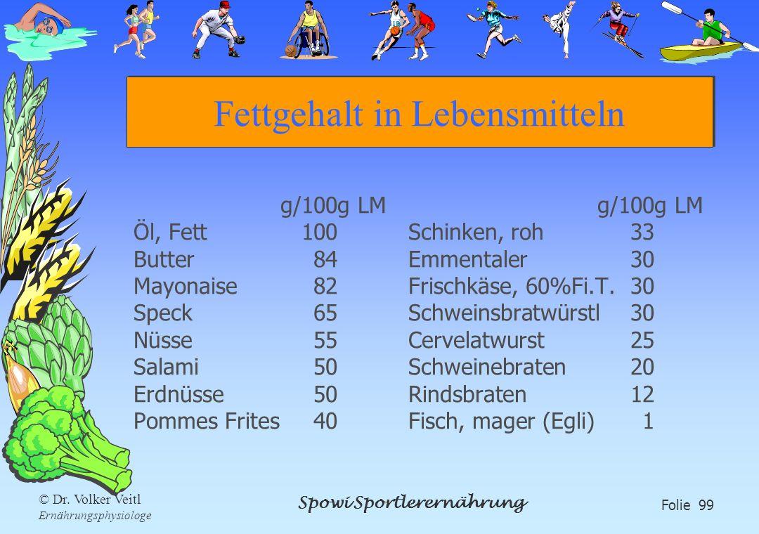 Spowi Sportlerernährung Folie 99 © Dr. Volker Veitl Ernährungsphysiologe Fettgehalt in Lebensmitteln g/100g LM Öl, Fett100 Butter84 Mayonaise82 Speck6