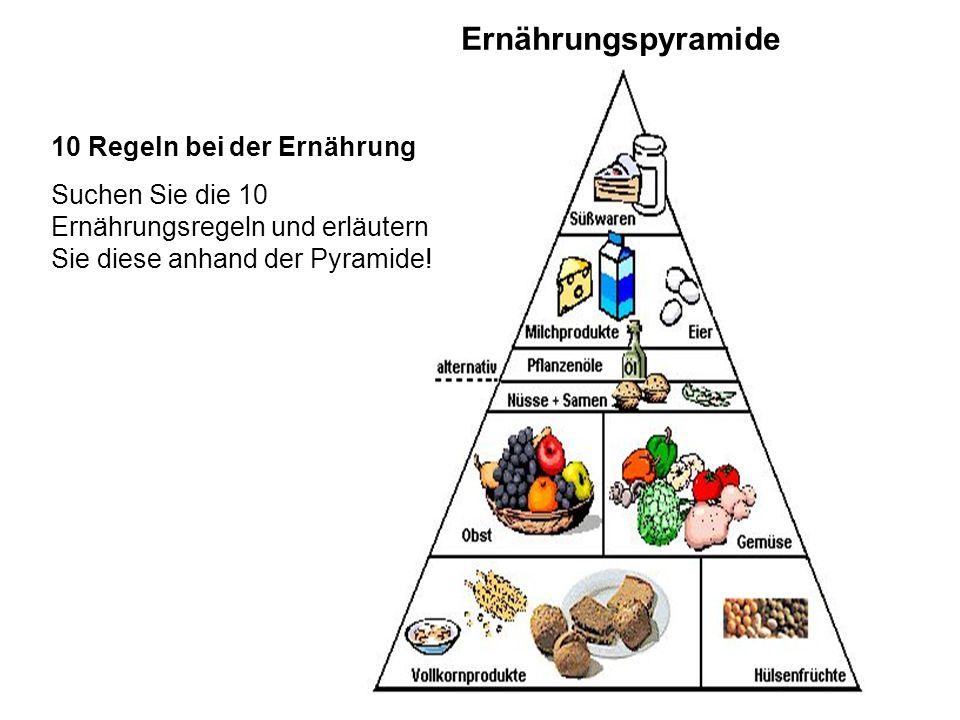 Ernährungspyramide 10 Regeln bei der Ernährung Suchen Sie die 10 Ernährungsregeln und erläutern Sie diese anhand der Pyramide!