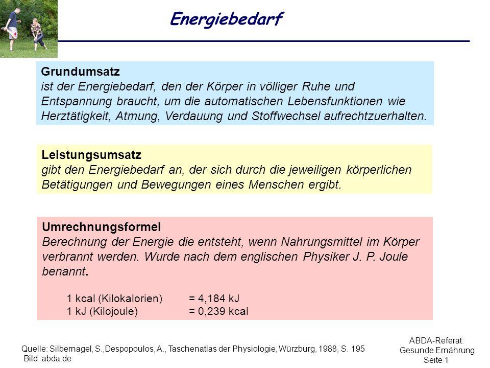 ABDA-Referat: Gesunde Ernährung Seite 2 Körpergewicht Body-Mass-Index (BMI): Körpergewicht kg [Körperlänge (m)] 2 BMI = 80 kg (1,75 (m)) 2 = 26,12 Bild: abda.de