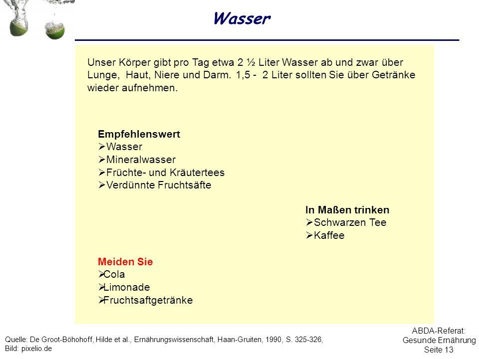 ABDA-Referat: Gesunde Ernährung Seite 13 Wasser Empfehlenswert Wasser Mineralwasser Früchte- und Kräutertees Verdünnte Fruchtsäfte Meiden Sie Cola Lim