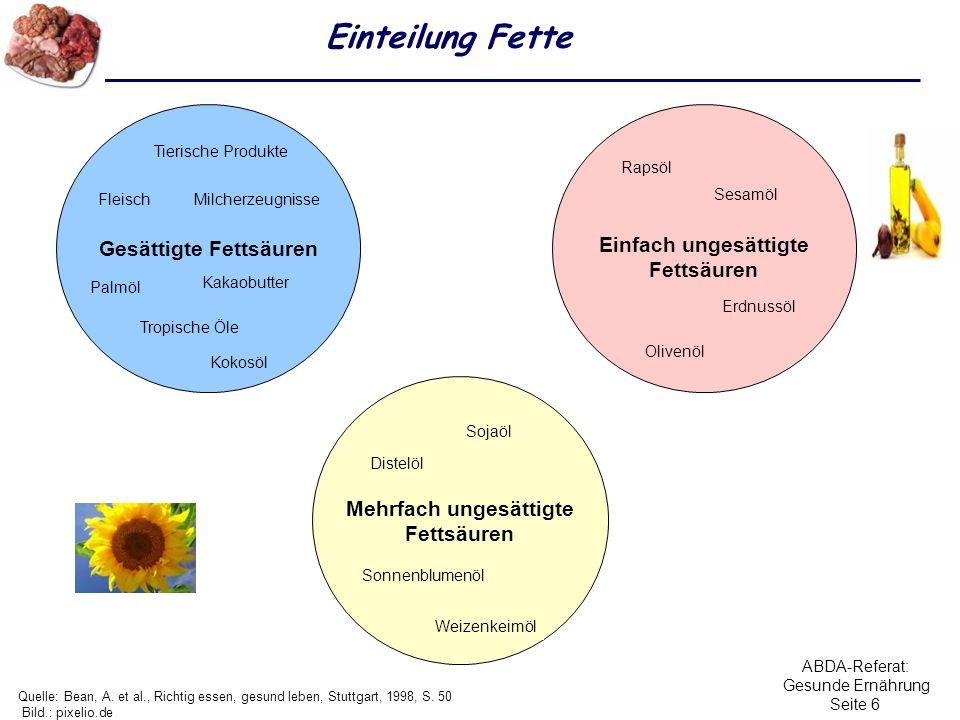 ABDA-Referat: Gesunde Ernährung Seite 6 Einteilung Fette Quelle: Bean, A. et al., Richtig essen, gesund leben, Stuttgart, 1998, S. 50 Bild.: pixelio.d
