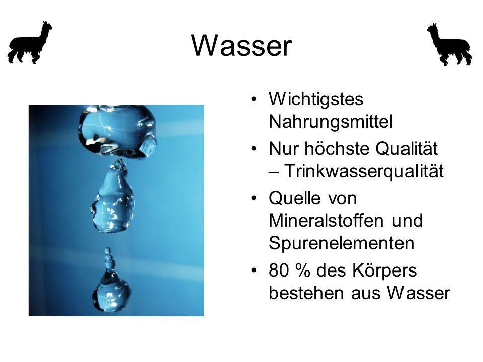 Wasser Wichtigstes Nahrungsmittel Nur höchste Qualität – Trinkwasserqualität Quelle von Mineralstoffen und Spurenelementen 80 % des Körpers bestehen aus Wasser