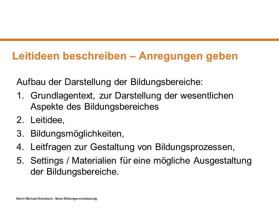 Bernt-Michael Breuksch: Neue Bildungsvereinbarung Leitideen beschreiben – Anregungen geben Aufbau der Darstellung der Bildungsbereiche: 1.Grundlagente