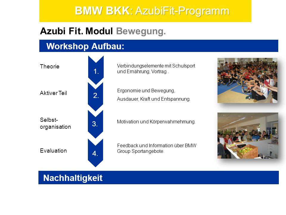 Azubi Fit. Modul Bewegung. Theorie Selbst- organisation Evaluation Aktiver Teil 1. 3. 2. 4. 5. 1. Workshop Aufbau: Verbindungselemente mit Schulsport