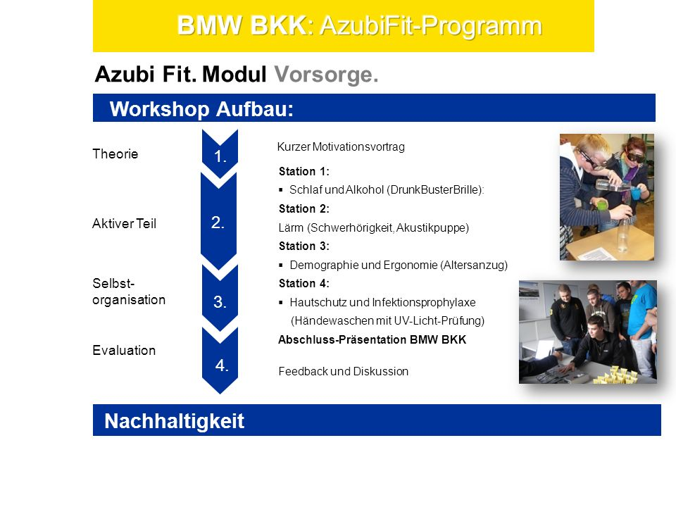 Azubi Fit. Modul Vorsorge. Theorie Selbst- organisation Evaluation Aktiver Teil 1. 3. 2. 4. 5. 1. Workshop Aufbau: Kurzer Motivationsvortrag Feedback