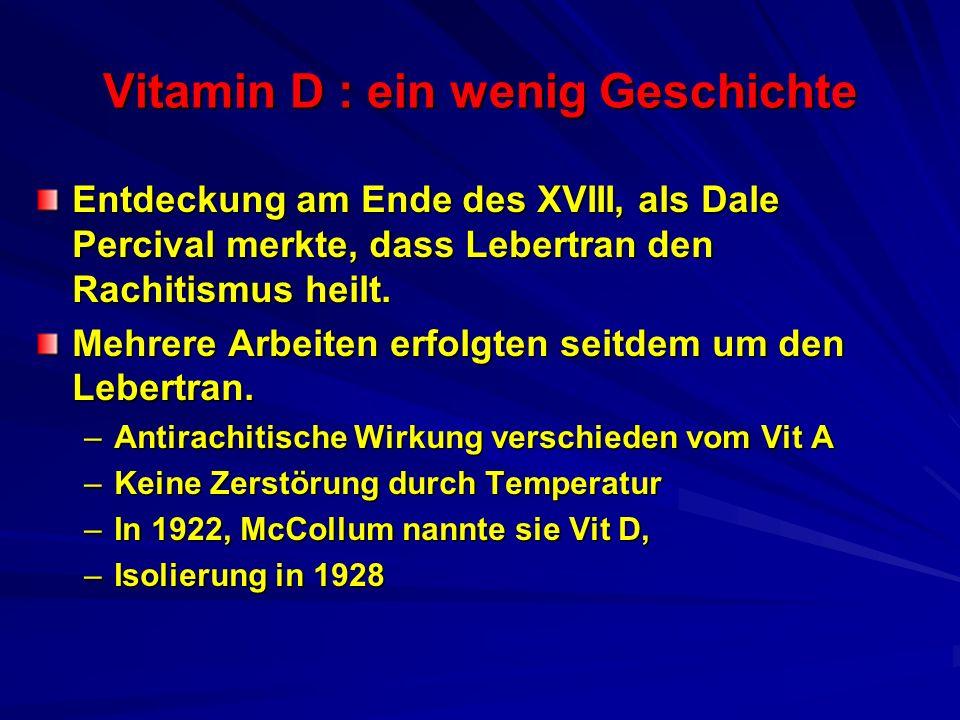 Vitamin D : ein wenig Geschichte Entdeckung am Ende des XVIII, als Dale Percival merkte, dass Lebertran den Rachitismus heilt. Mehrere Arbeiten erfolg