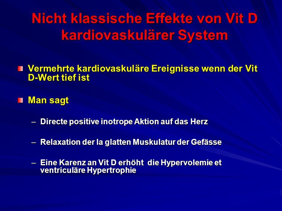Nicht klassische Effekte von Vit D kardiovaskulärer System Vermehrte kardiovaskuläre Ereignisse wenn der Vit D-Wert tief ist Man sagt –Directe positiv