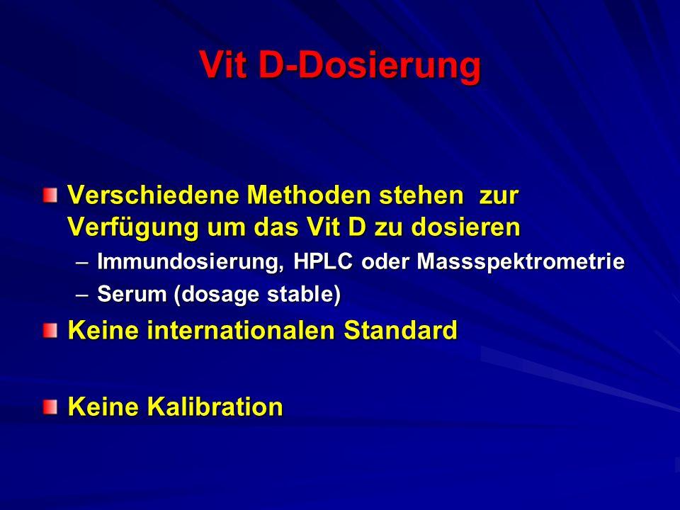 Vit D-Dosierung Verschiedene Methoden stehen zur Verfügung um das Vit D zu dosieren –Immundosierung, HPLC oder Massspektrometrie –Serum (dosage stable