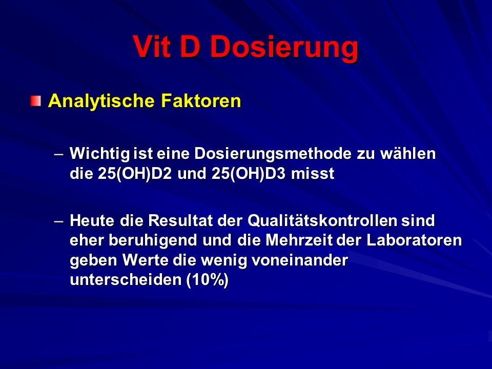 Vit D Dosierung Analytische Faktoren –Wichtig ist eine Dosierungsmethode zu wählen die 25(OH)D2 und 25(OH)D3 misst –Heute die Resultat der Qualitätsko